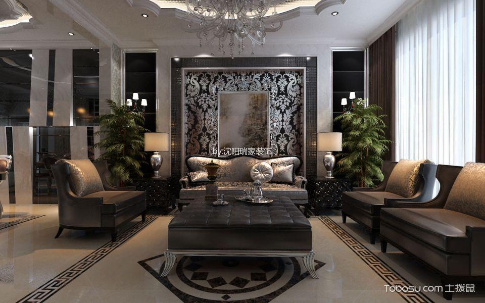 【新加坡城】120㎡两室两厅新古典主义风格效果图