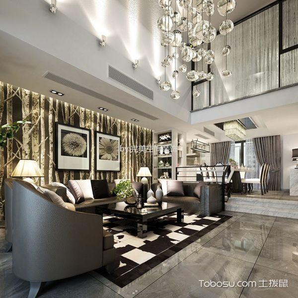 客厅灰色榻榻米现代风格装修设计图片