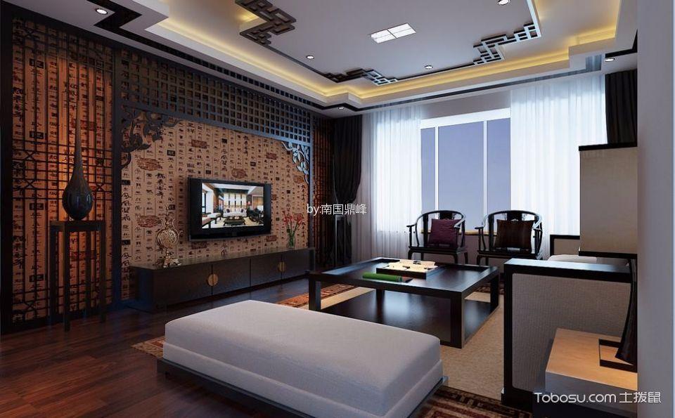 客厅白色吊顶中式古典风格装修设计图片