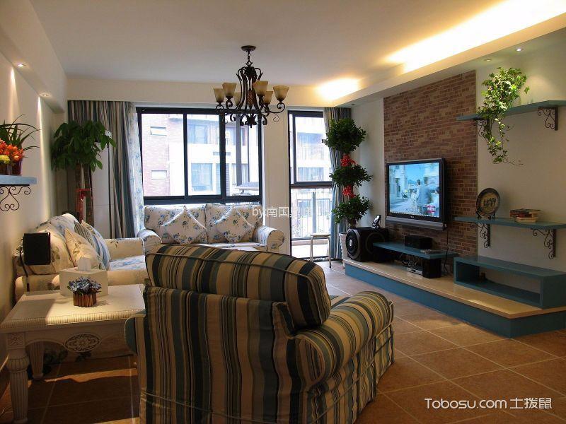 客厅橙色地砖地中海风格装饰效果图