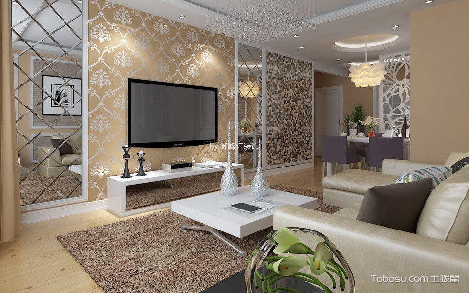 裕祥园小区97平简欧风格二居室装修效果图