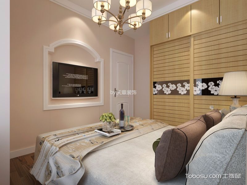 卧室白色推拉门新中式风格装修图片