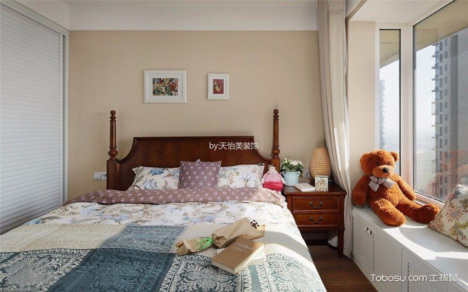 卧室白色飘窗美式风格装潢图片