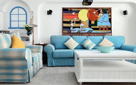 蓝色彩三居室地中海婚房