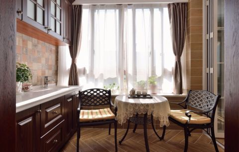 古朴米色客厅阳台设计方案