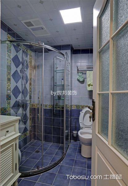 卫生间蓝色隔断美式风格装饰设计图片