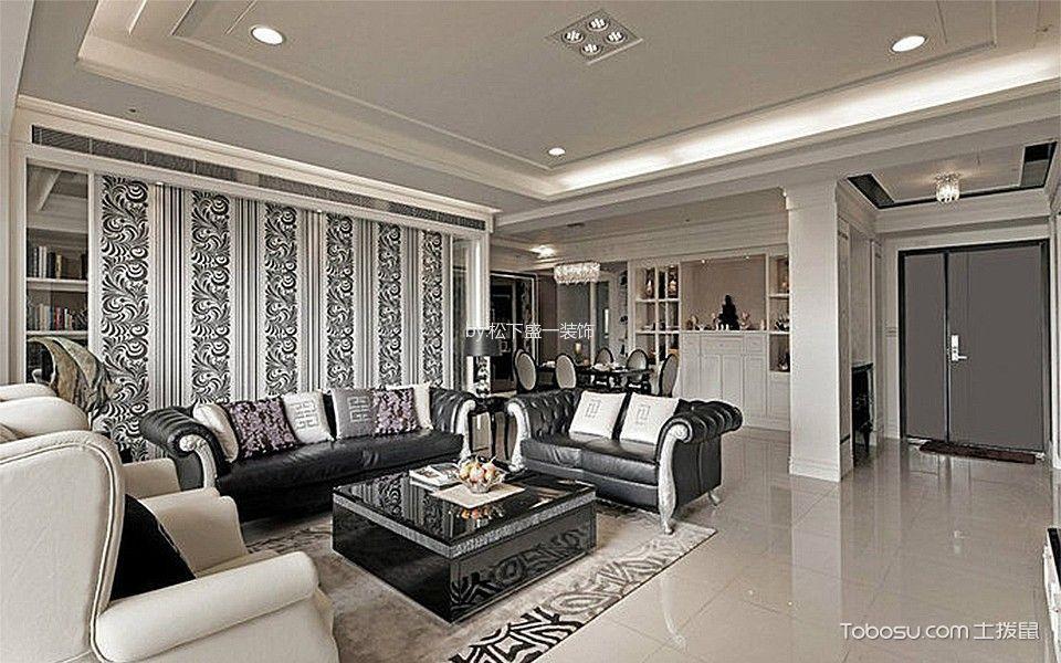 264平方米黑白笔触客厅装修效果图