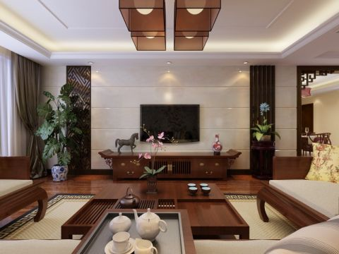 印象山洋房260平中式美式装修设计图