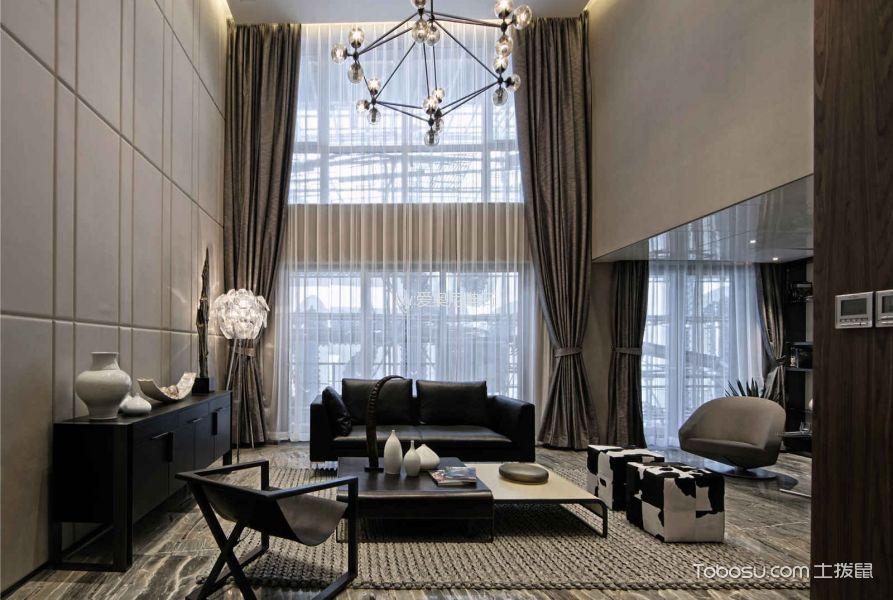 客厅灰色窗帘后现代风格装修效果图