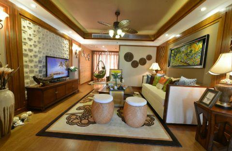 东南亚风格110平米三室两厅新房装修效果图
