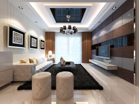银湖时代二居室现代简约风格效果图案列