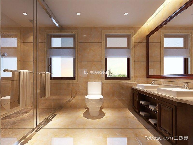 卫生间咖啡色隔断新中式风格装修效果图