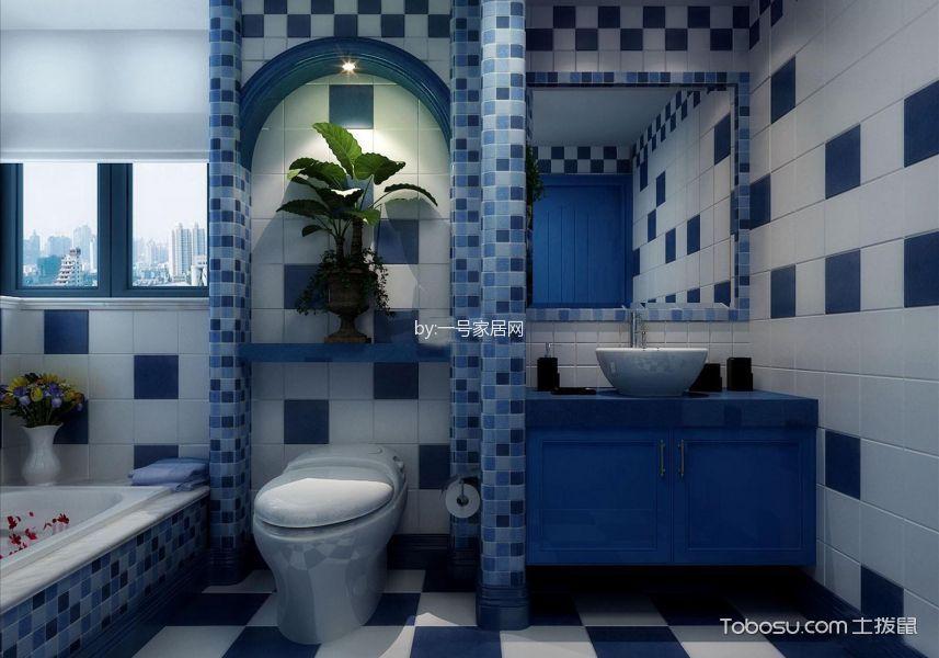 卫生间蓝色隔断地中海风格装修图片
