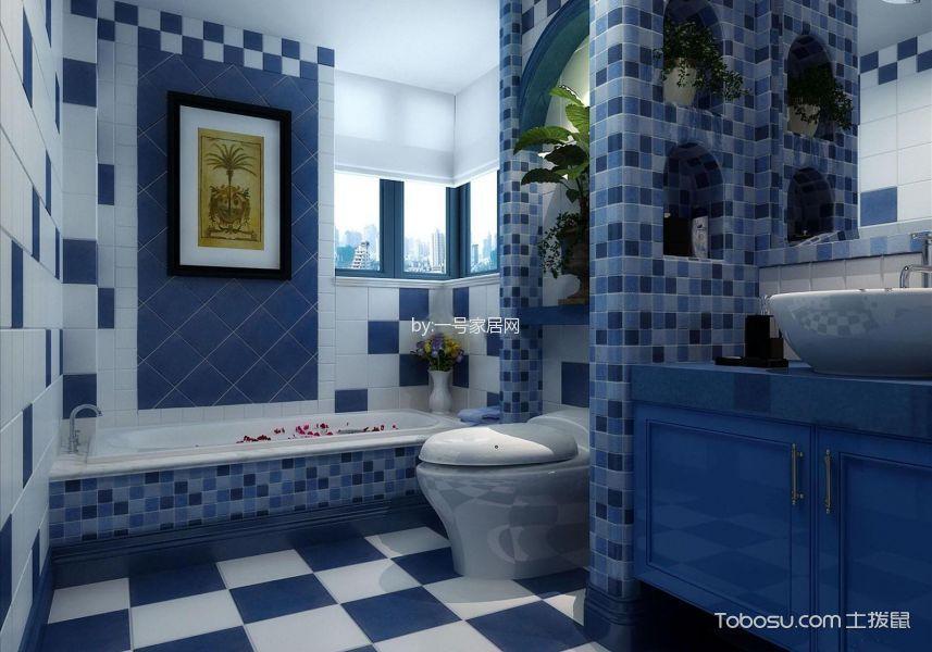 卫生间蓝色隔断地中海风格装潢图片