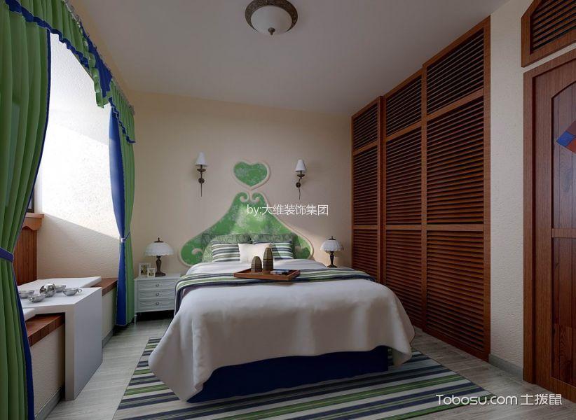 卧室白色榻榻米地中海风格装饰图片