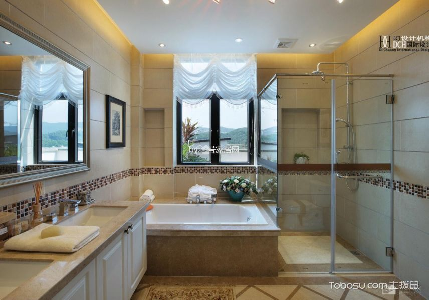 卫生间白色隔断欧式风格装饰设计图片