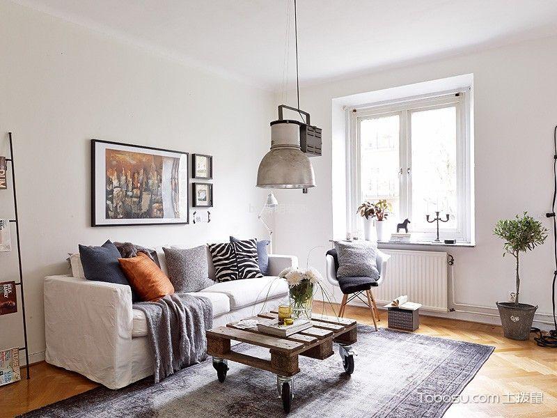 十里新城90平两居室北欧风半包装修设计图
