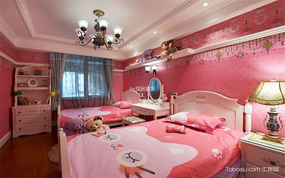 儿童房粉色榻榻米简欧风格装饰设计图片
