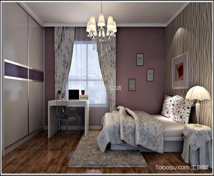 卧室粉色照片墙现代简约风格装饰效果图