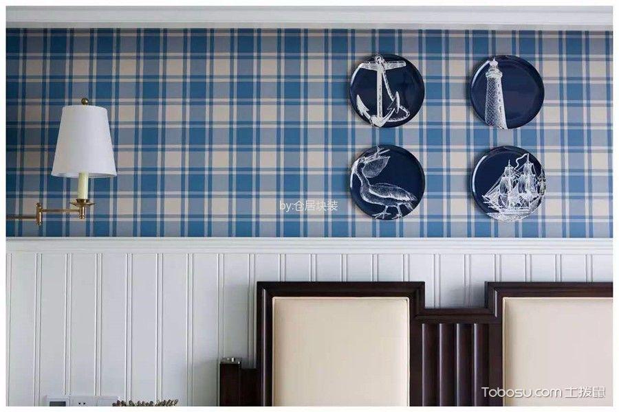 卧室蓝色背景墙田园风格装修设计图片