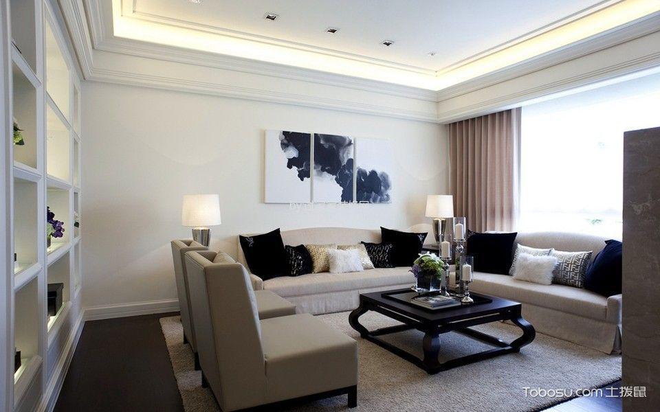 客厅白色隔断新古典风格装潢设计图片
