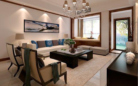 世纪家园150平米简约中式风格三室两厅装修效果图