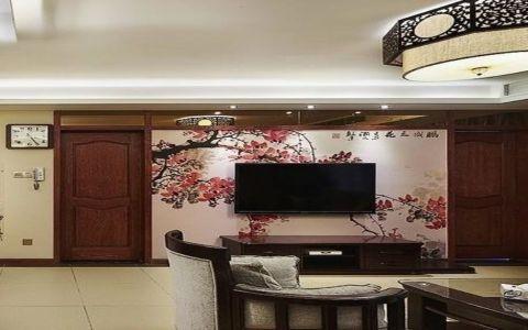 新中式彩绘电视背景墙装修效果图