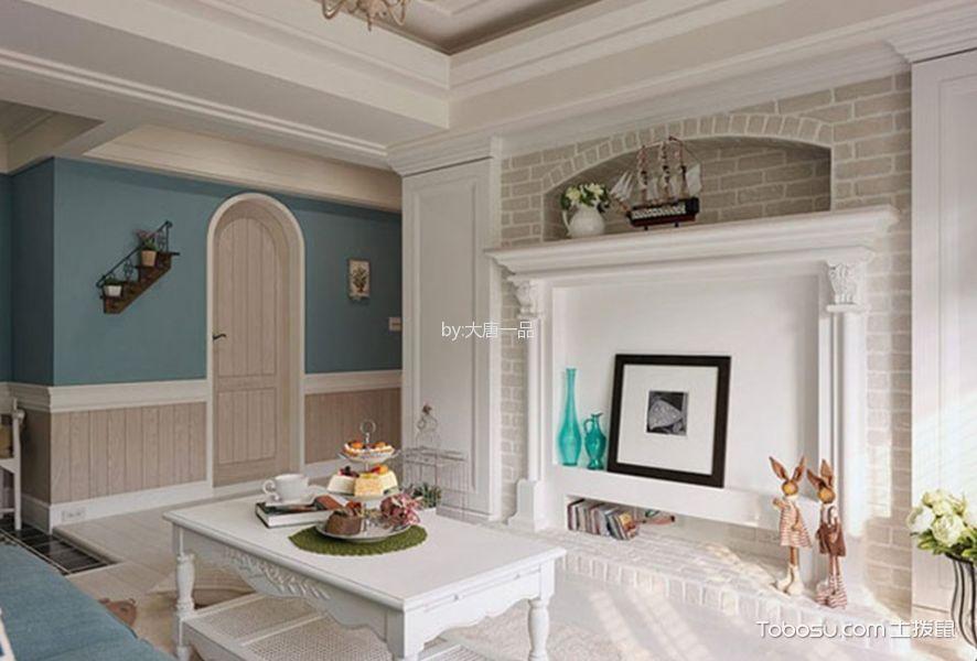 客厅蓝色茶几混搭风格装潢图片
