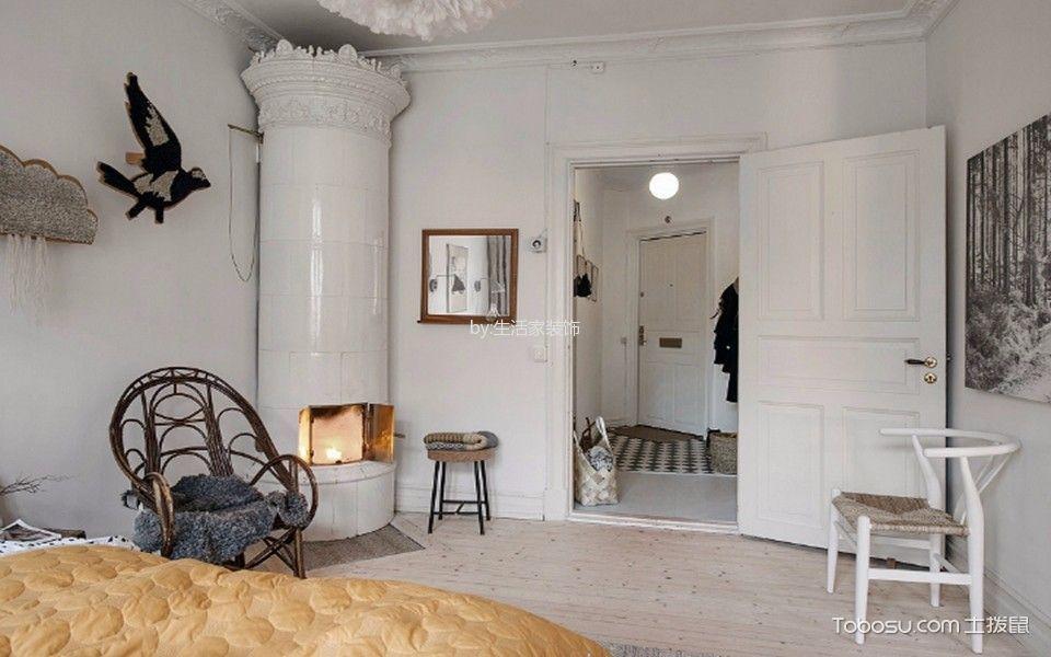 卧室白色背景墙北欧风格装饰效果图