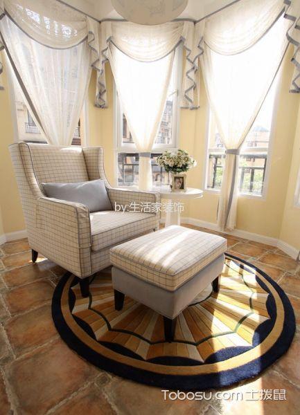 书房白色窗帘欧式风格装潢设计图片