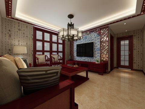 皇马花园98平米中式古典风格效果图