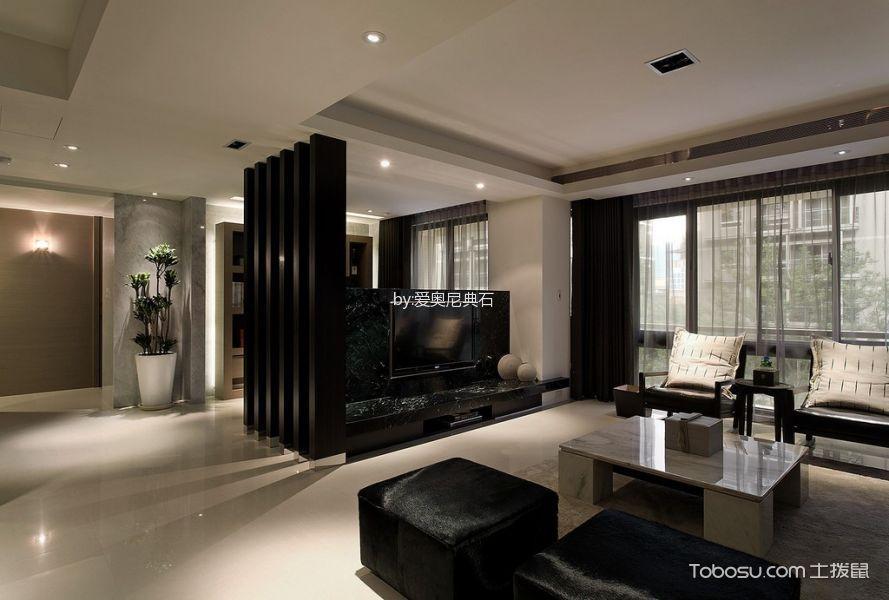 客厅黑色窗帘后现代风格装修效果图