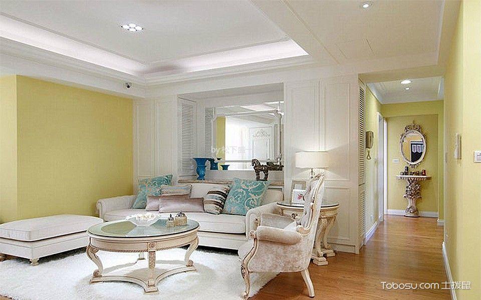 客厅白色吊顶新古典风格装修设计图片