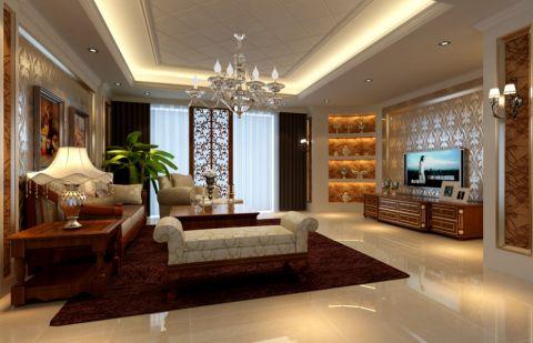 客厅白色博古架装潢实景图