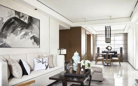 新中式客厅背景墙装潢实景图
