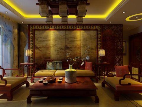 河工大中式风格三室装修效果图