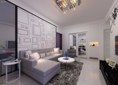 海昌天澜97平三居室简约风格半包装修设计图