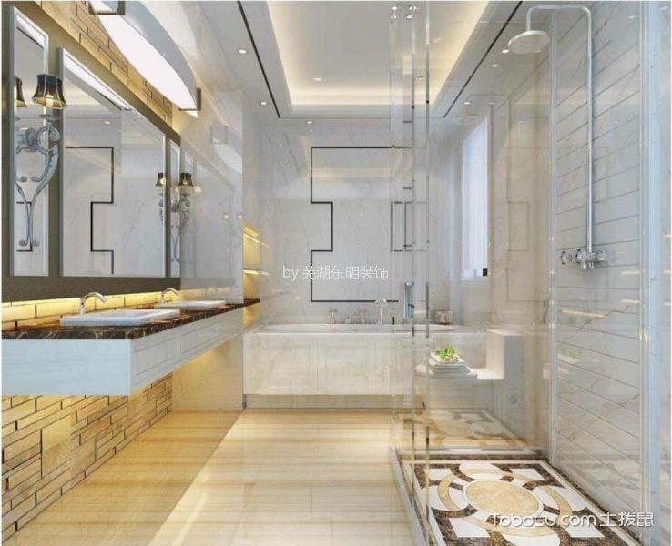 卫生间白色隔断新中式风格装饰效果图