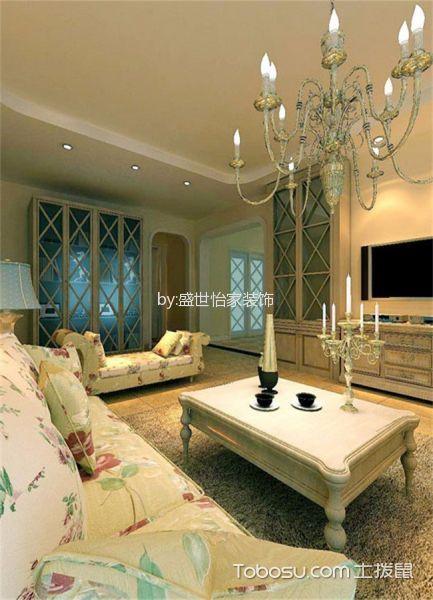 客厅白色茶几东南亚风格效果图
