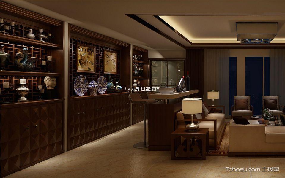客厅黄色吧台新中式风格效果图