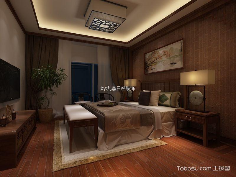 卧室咖啡色床新中式风格装潢效果图