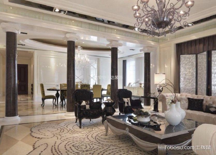 欧式风格115平米三室两厅新房装修效果图