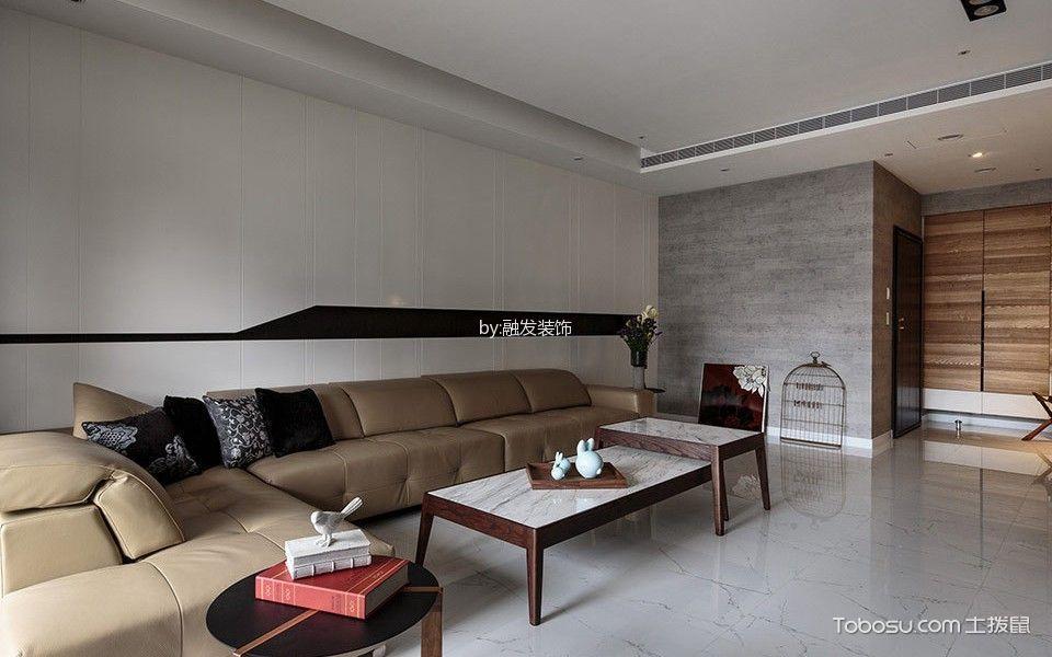 客厅白色地砖现代简约风格装潢图片