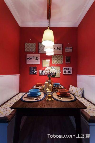 餐厅红色照片墙美式风格装修效果图