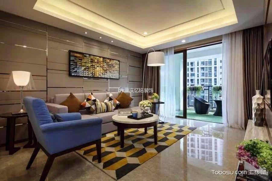 客厅咖啡色窗帘后现代风格装潢效果图