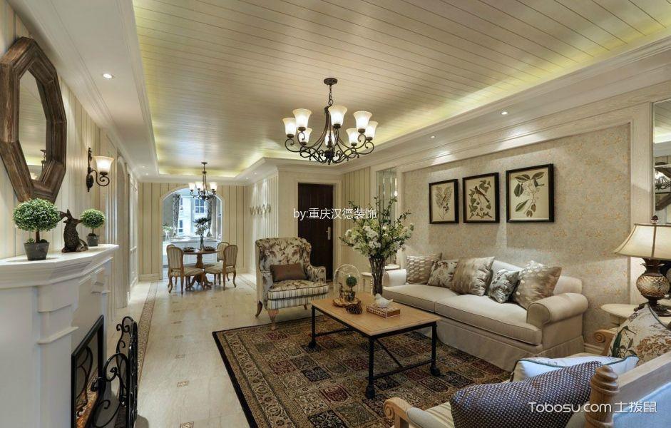 客厅白色吊顶北欧风格装饰图片