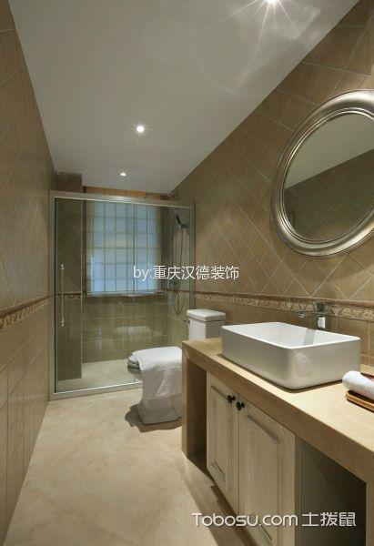 卫生间白色洗漱台北欧风格装潢图片
