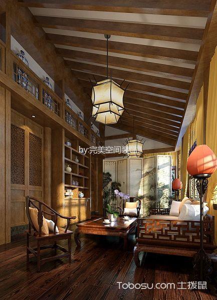 中式休闲会所客厅装修实景图