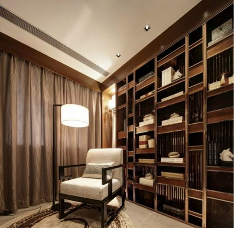 书房博古架混搭风格装饰设计图片
