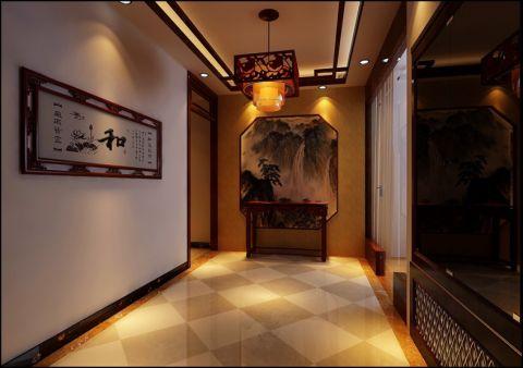 玄关背景墙中式风格装潢效果图
